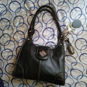 Strada Hobo Shoulder Faux Leather Bag Black Purse